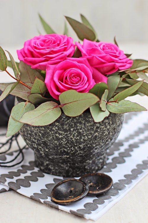Pink Roses and Eucalyptus