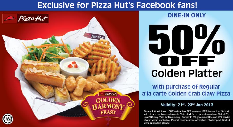 Promotions gt pizza hut golden platter 50 off