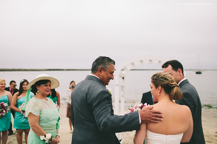 """bride and father at beach wedding in half moon bay"""