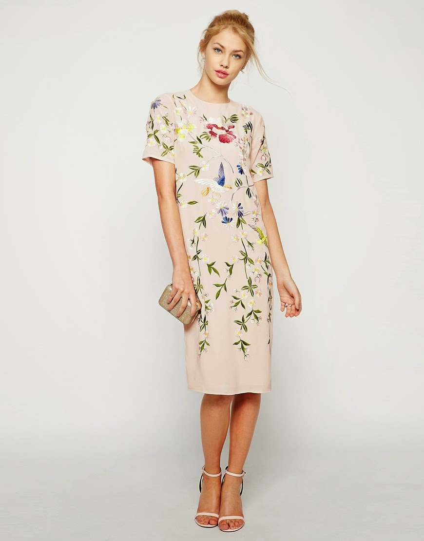 embroidered bird and flower dress