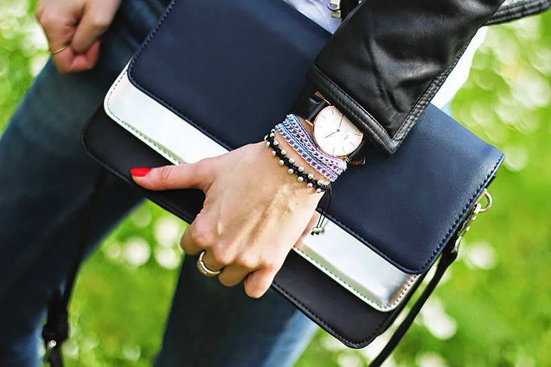 zara bag, DIY wrap bracelets, daniel wellington watch