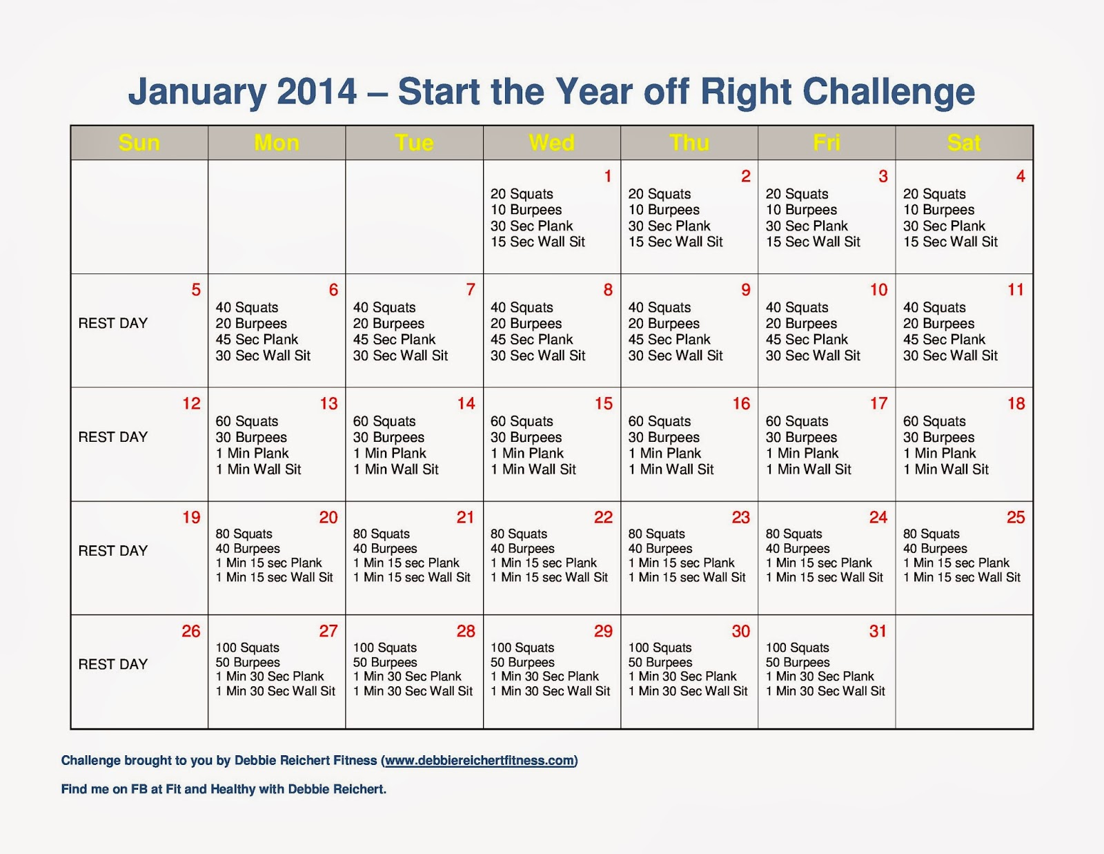January 2014 Fitness Challenge - Fit and Healthy with Debbie
