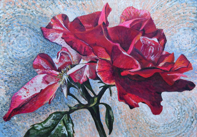 Rozartz contemporary floral paintings painting a red rose for Painting flowers in acrylic step by step