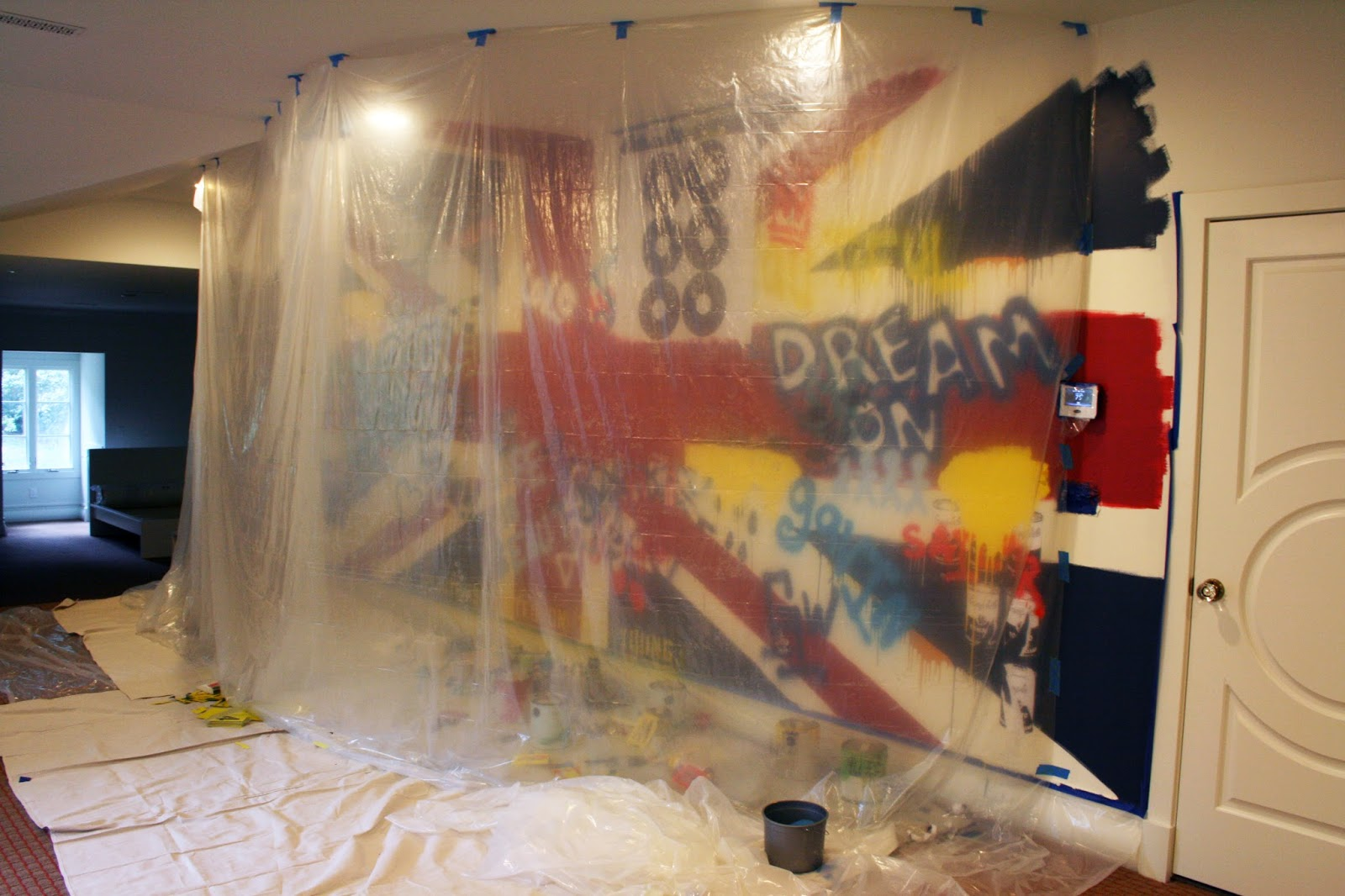 the Beatles Union Jack Painted Wall Mural progress