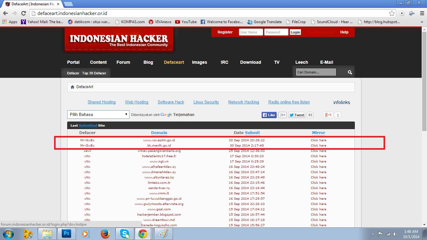 Pelaku defacementweb PVMBG adalah anggota Indonesian Hacker Team