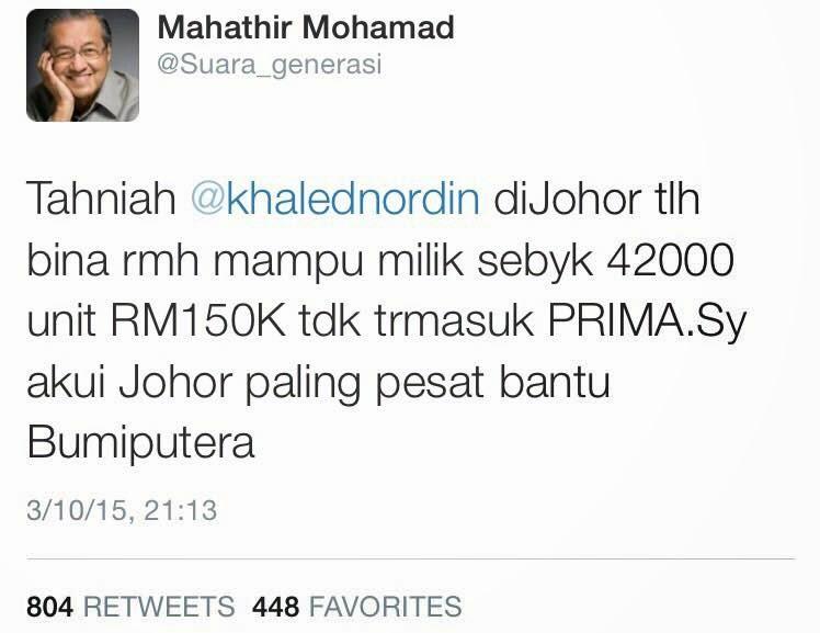 Tun Mahathir Puji Johor Dalam Membina Rumah Mampu Milik