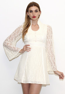 Vintage 1970's white lace bell-sleeved Gunne Sax bohemian mini dress