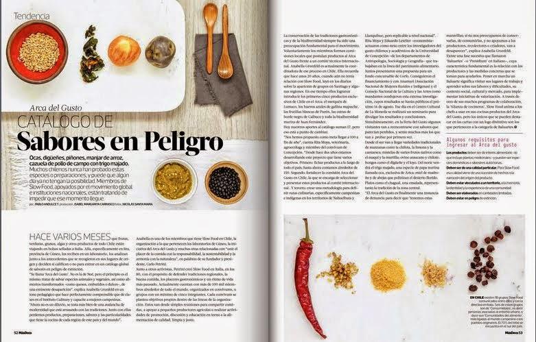 Catalogo de sabores en Peligro, Arca del Gusto - Chile