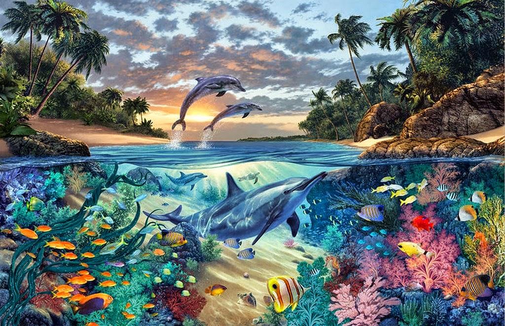 Cuadros modernos pinturas y dibujos paisajes submarinos for Cuadros con peces
