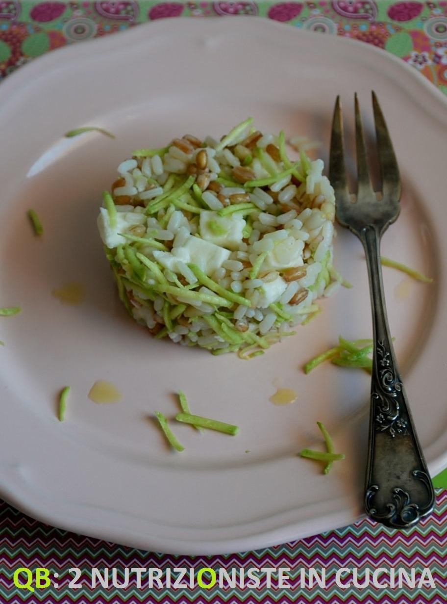 Q b le ricette light insalata di riso orzo e farro con for Cucinare zucchine trombetta