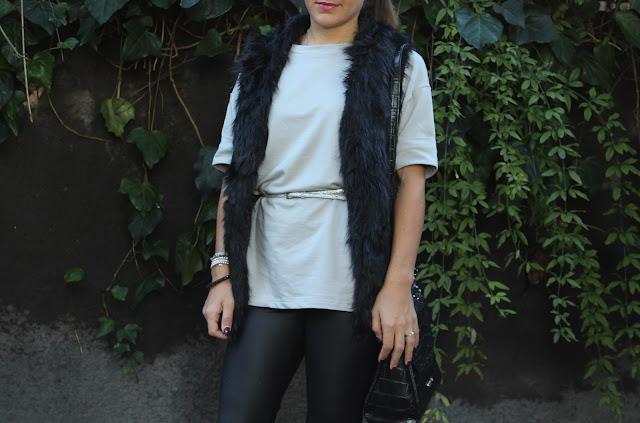 faux fur, outfit leggins ecopelle, yoins