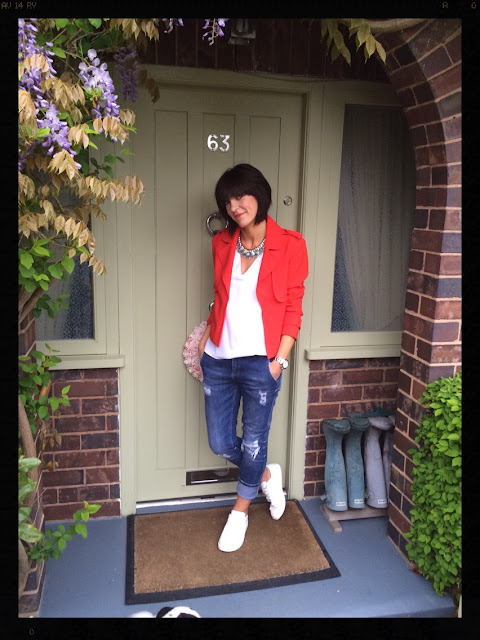 My Midlife Fashion, Boyfriend Jeans, Red Jacket, Statement Necklace, White Trainers, Zara, Mango