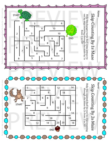 The Puzzle Den: Skip Counting Mazes