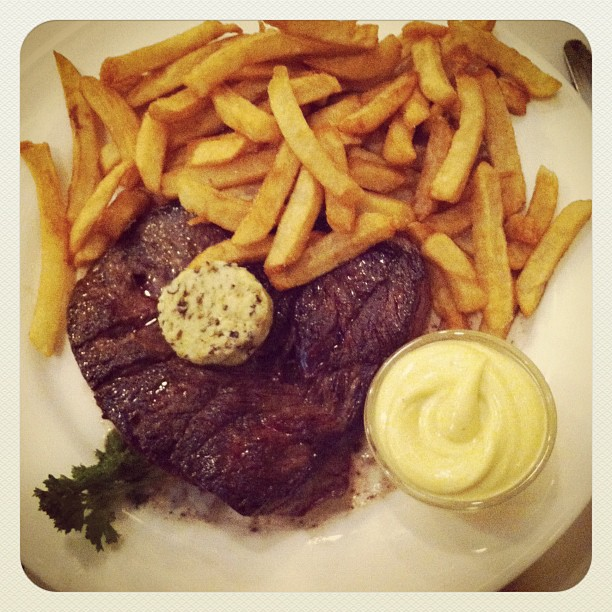 Hanger Steak with Shallot Butter and Fries