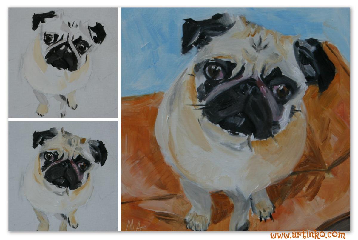 kutya, olajfestmény, portré
