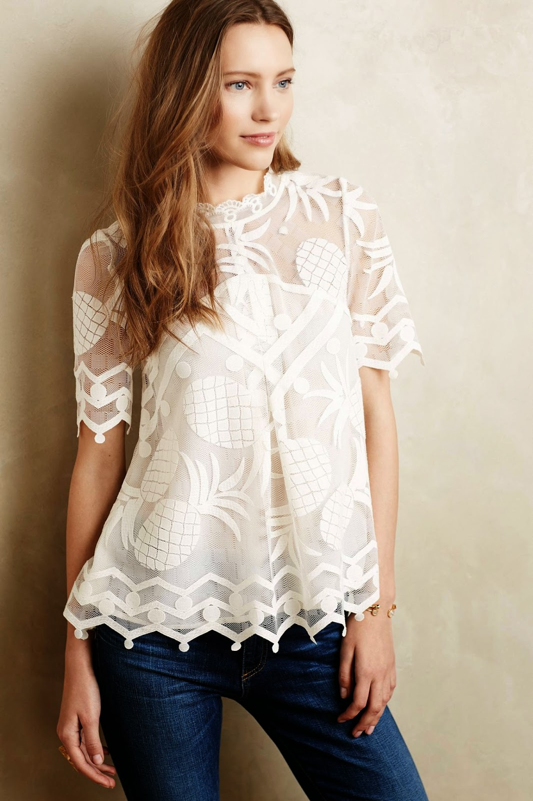 anthropologie pina lace top