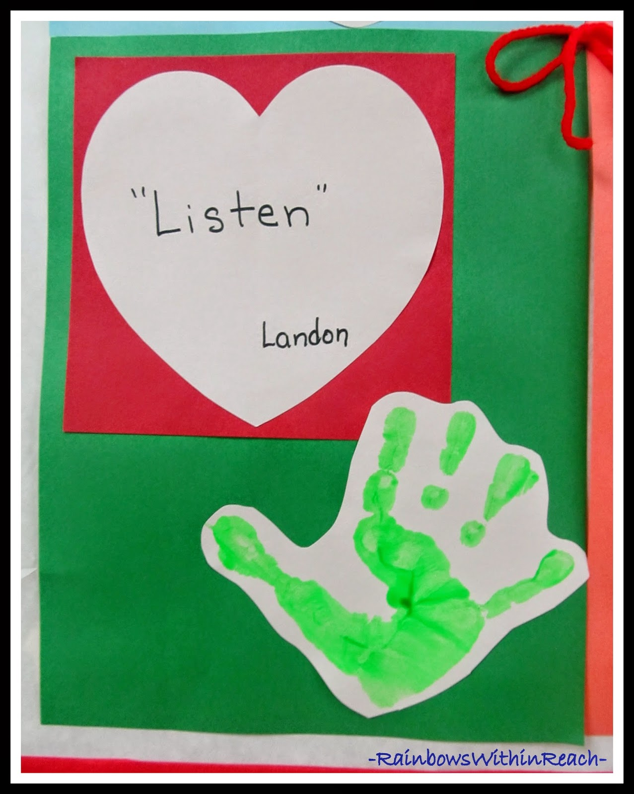 """Our Kindness Quilt"" Preschool Handprints and Rules thru the eyes of the Children"