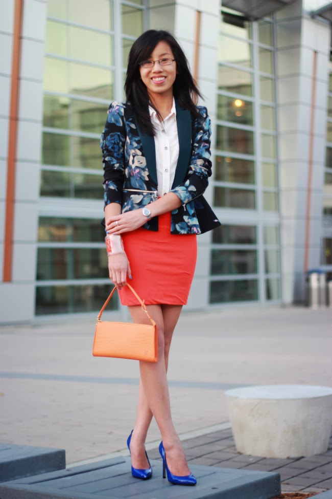 mini skirt blazer outfit bright florals