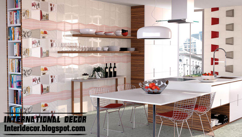 Wonderful Modern Wall Ceramic Tiles For Kitchens Red And White Tiles
