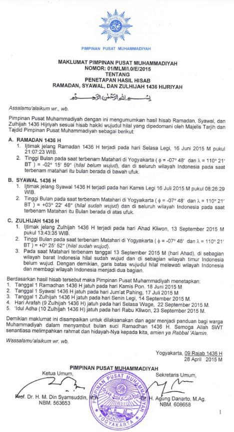 Penetapan Pelaksanaan Lebaran (Idul Fitr 1436 H) 2015