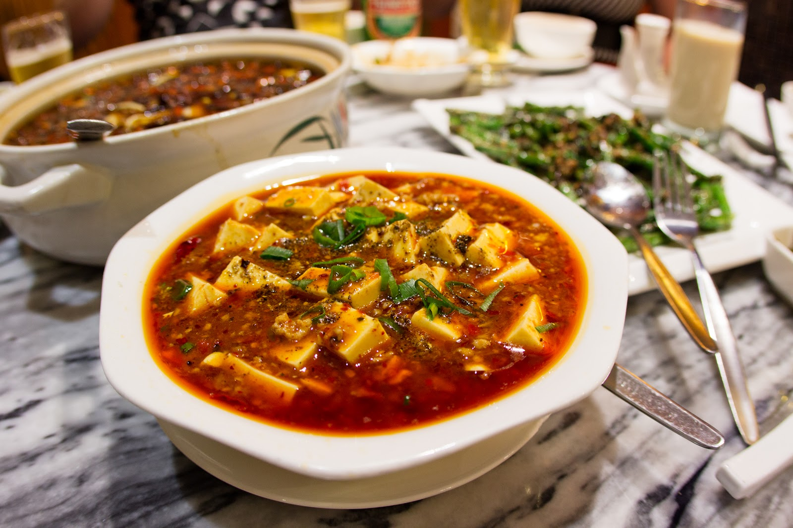 Mapo tofu (bean curd with beef mince in spicy sauce) $16.80