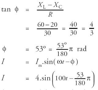 persamaan rangkaian arus listrik seri RLC sumber tegangan bolak balik