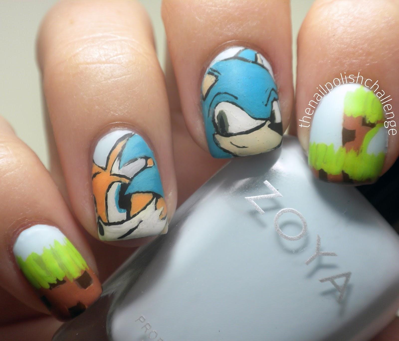Kelli Marissa Sonic The Hedgehog Nail Art