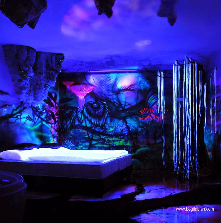 Asombrosos murales que brillan en la oscuridad te - Murales en habitaciones ...