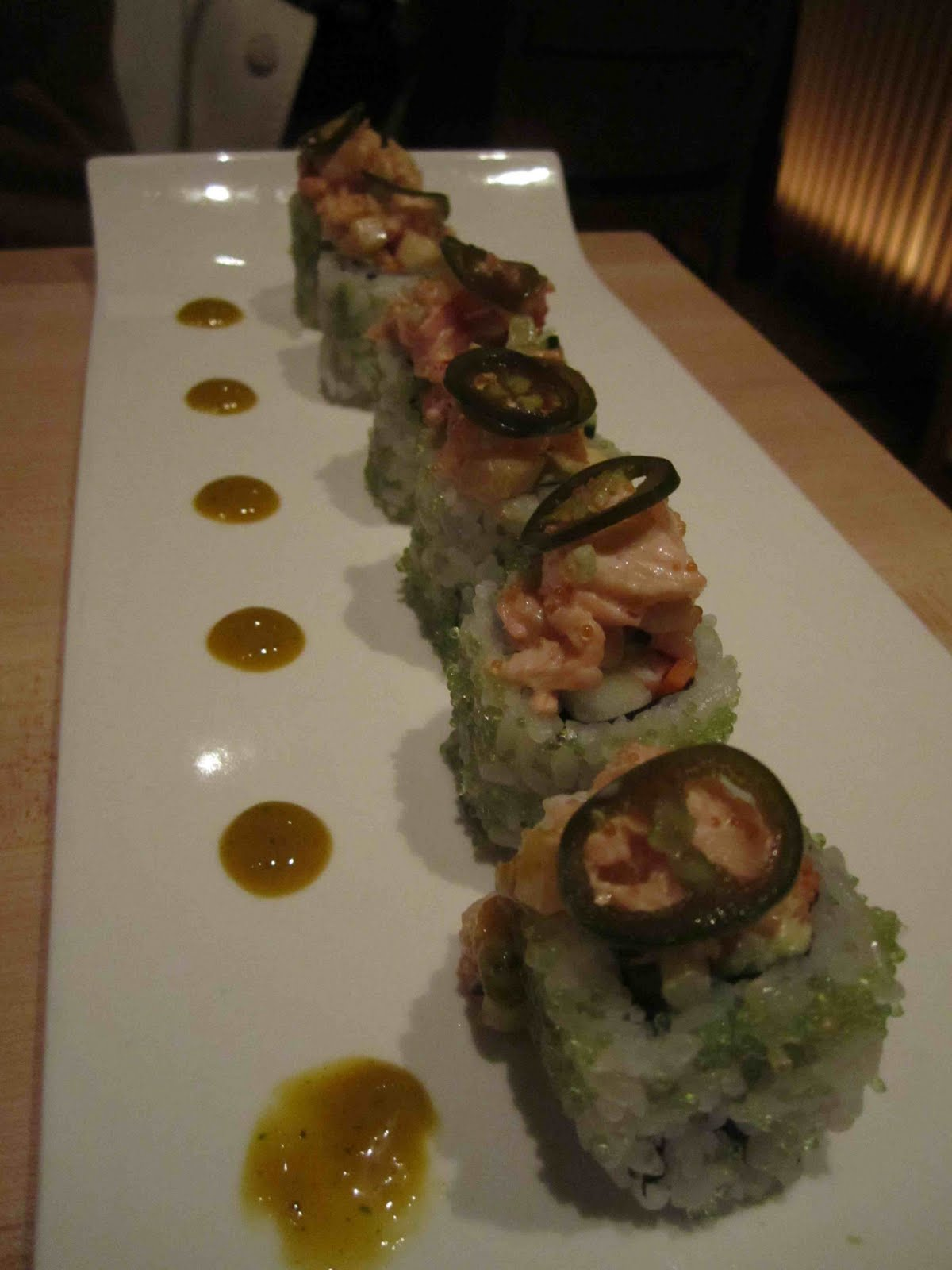 The Wasabi Lobster roll - inside out California roll made with shrimp ...