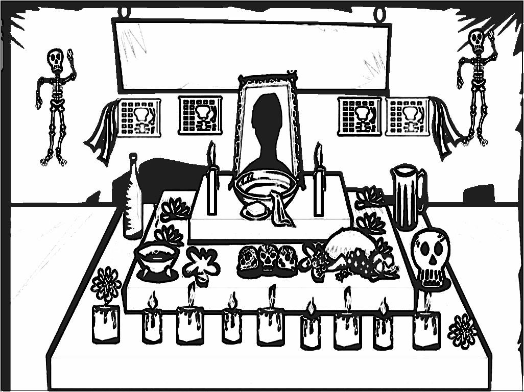 Altar de muertos para colorear para niños