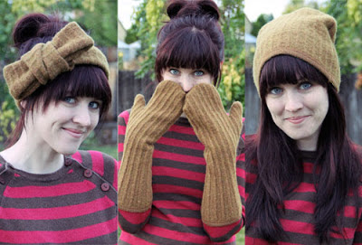 upcycled sweater to hat, headband and gloves, number 8 on list of christmas gifts under $5