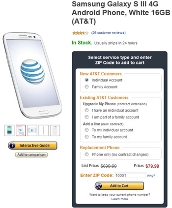 Amazon Offers AT&T Samsung Galaxy S III (16GB) For Just $79.99