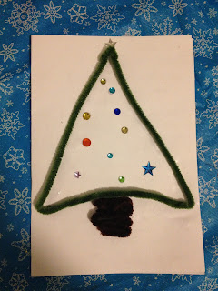 pipe cleaners, craft, homemade Christmas card, Christmas card,