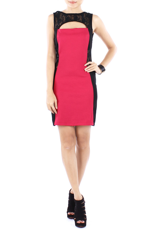 Pink Lace Insert Party Bodycon Dress