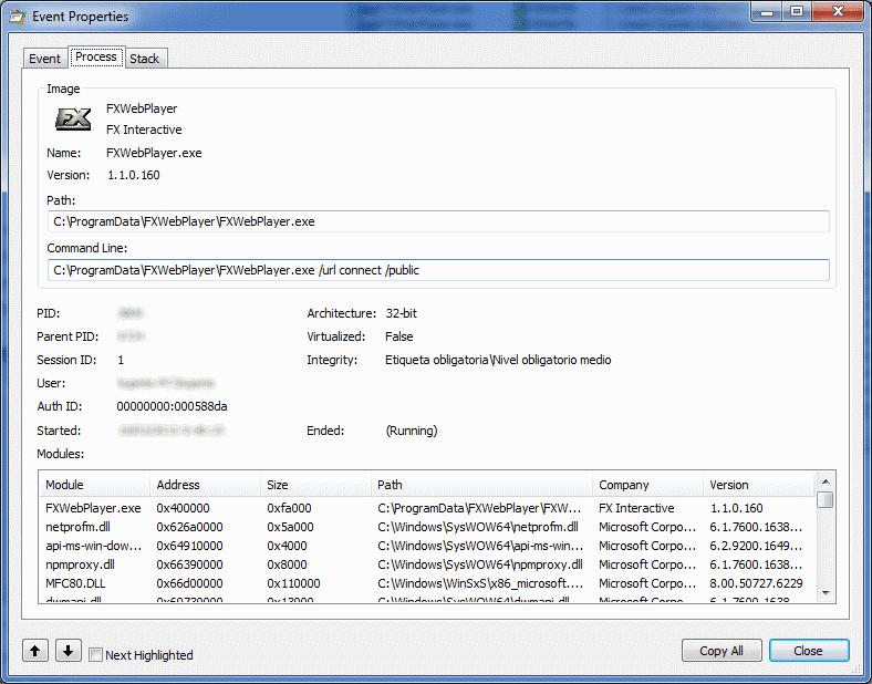 Propiedades del proceso FXWebPlayer.exe