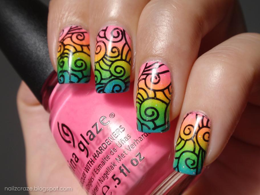 Neon Rainbow Gradient and Swirly Stamping - Nailz Craze