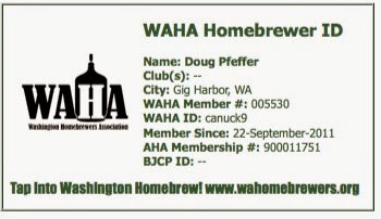 Washington Homebrewers Association Membership Card