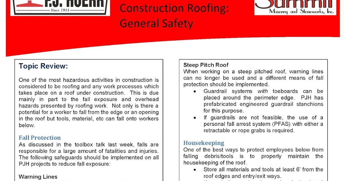 P.J. Hoerr Inc. P.J. Hoerr u0026 Summit Masonry Weekly Toolbox Talk | Construction Roofing General Safety 2015  sc 1 st  P.J. Hoerr Blog - blogger & P.J. Hoerr Inc.: P.J. Hoerr u0026 Summit Masonry Weekly Toolbox Talk ... memphite.com