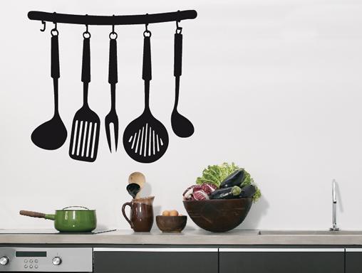 vinilos decorativos para cocina, utensillos de cocina colgantes en vinilo