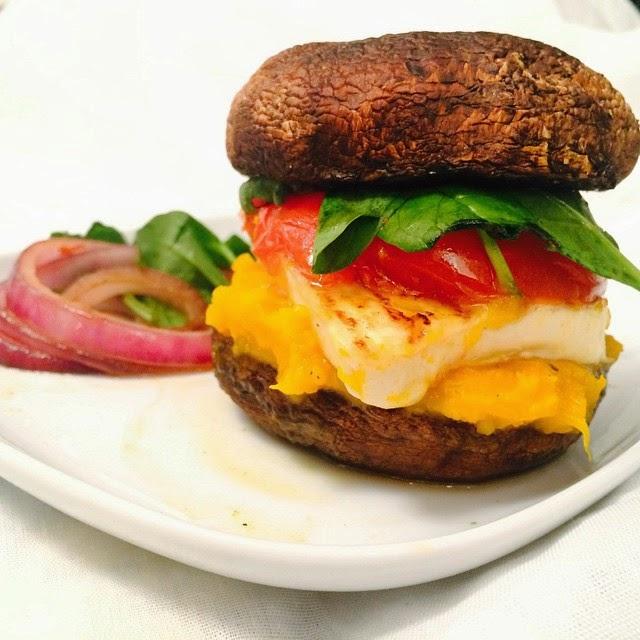 Homemade Vegetarian Portobello Mushroom Burger