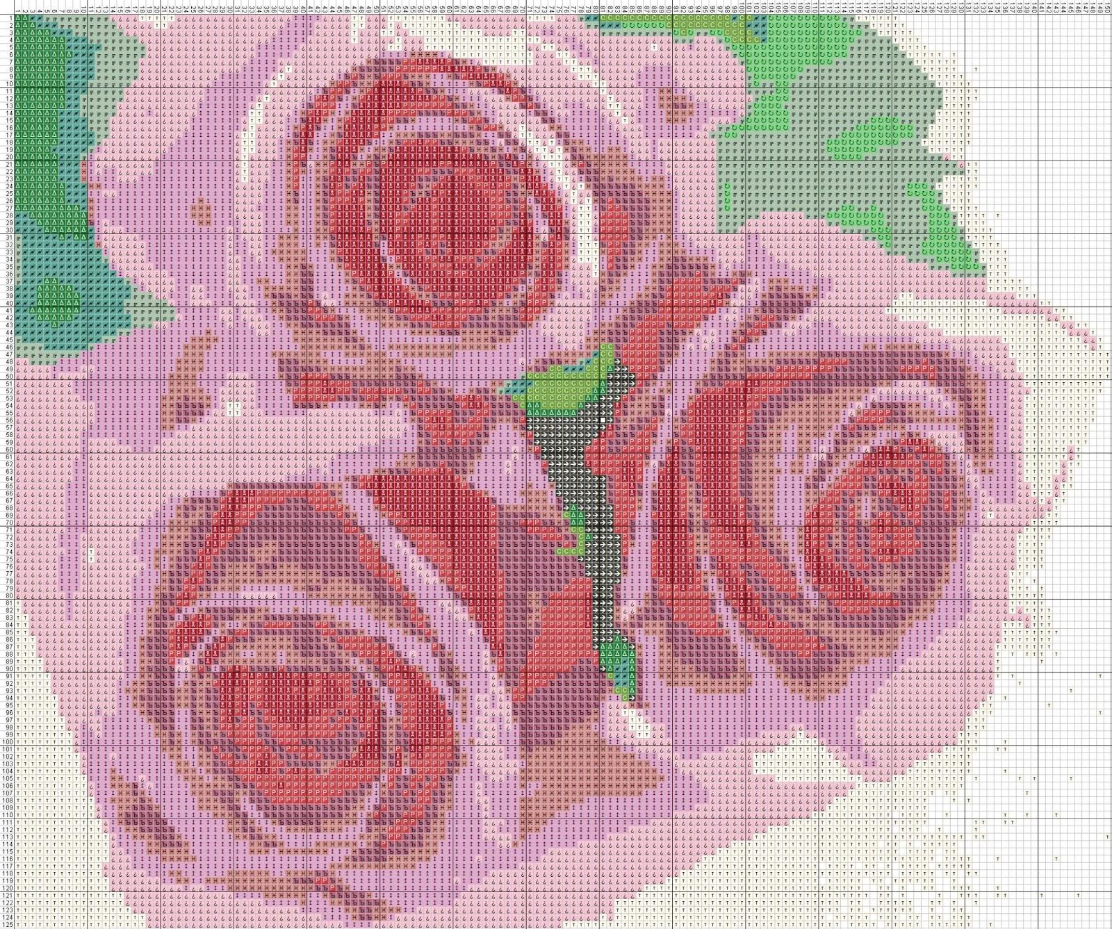 Gambar Pola Kristik Bunga Mawar Pink