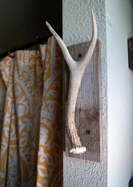 Bathroom Makeover - before & after - antler & salvaged wood towel hook