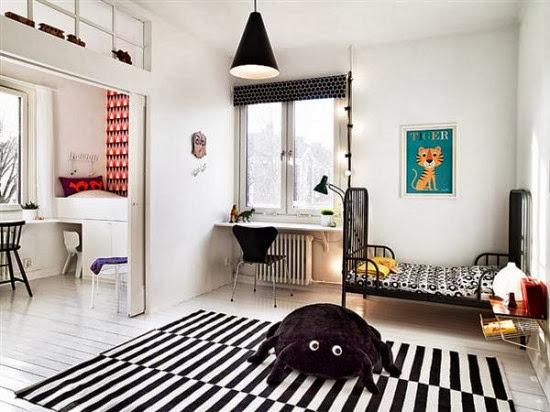 habitacion infantil negro industrial alfombra