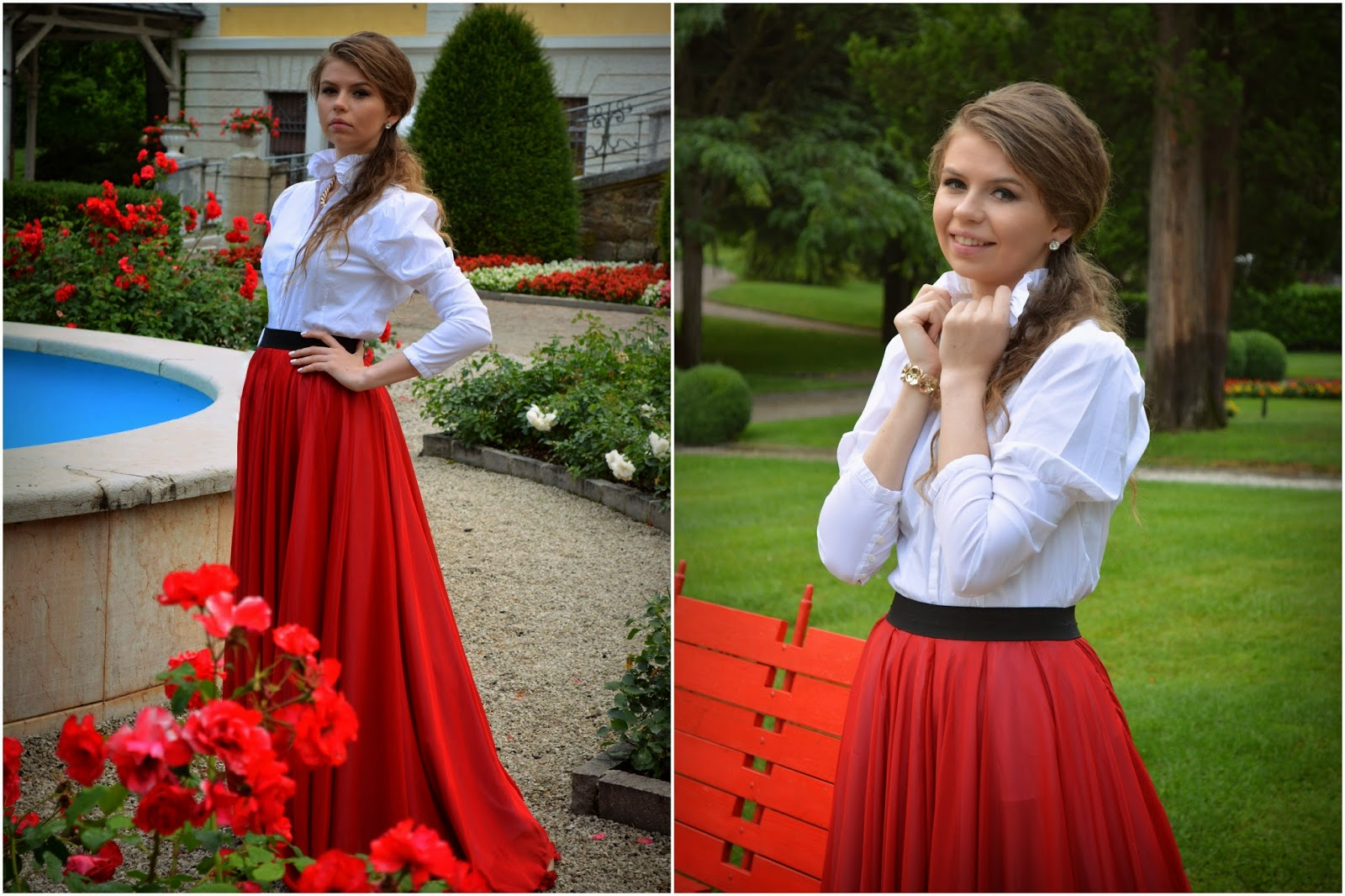 outfit with red long skirt