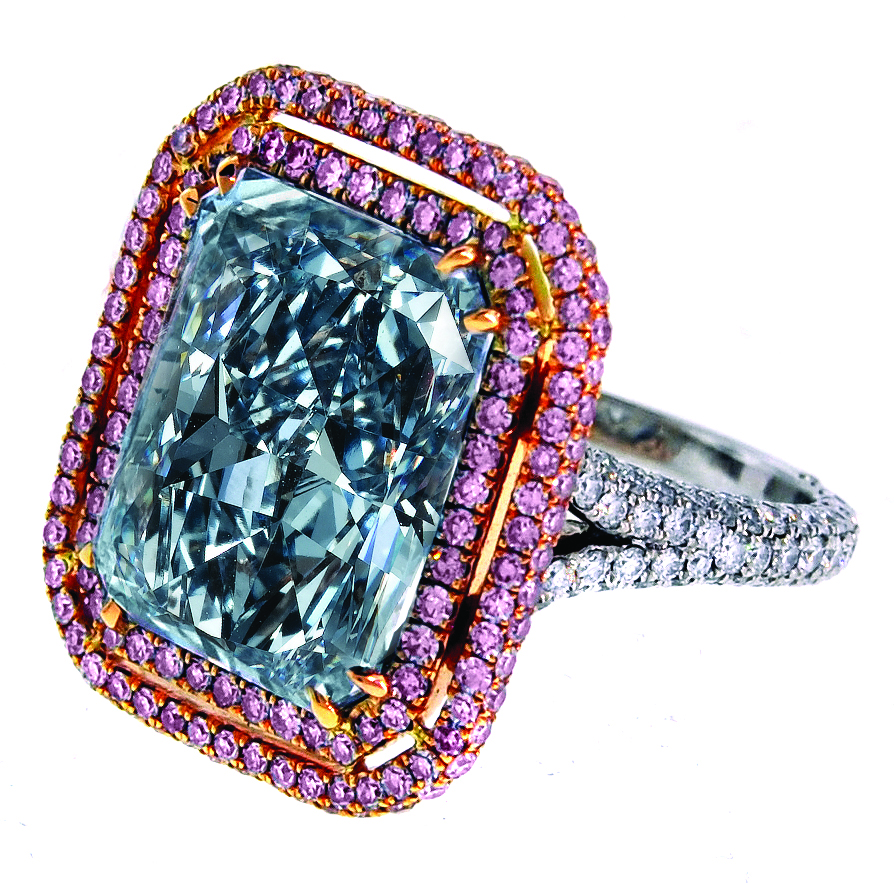 A 1238ct Fancy Blue Radiant Cut Diamond Mounted On A Platinum And 18k  Rose Gold Ring The If Clarity Diamond Is Surrounded By 101 Cts Of Fancy  Pink