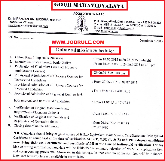 Gour Mahavidyalaya Online Admission 2015 Final Merit List & Counseling Schedule Advertisement