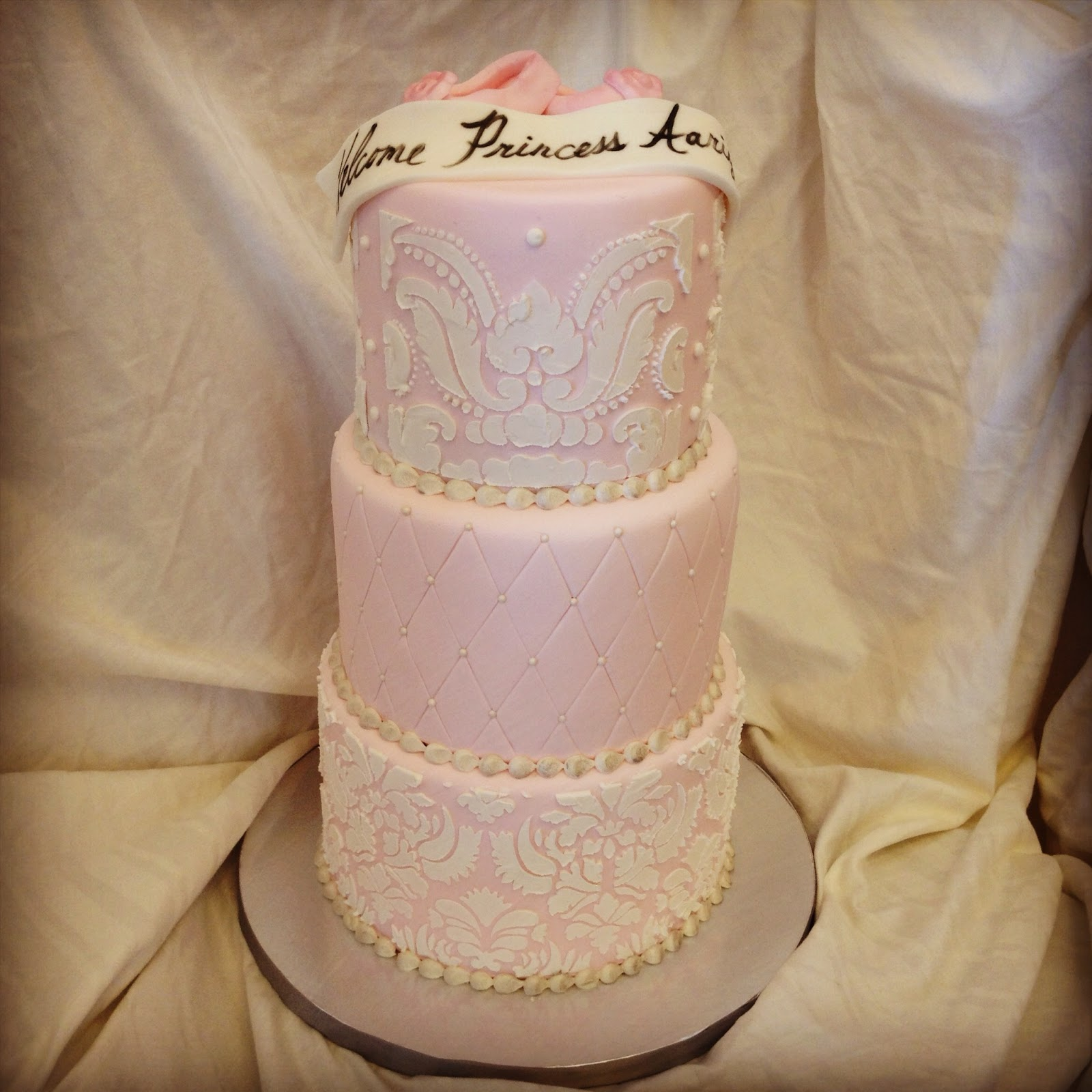 elegant baby shower cake to welcome a new princess the cake is also