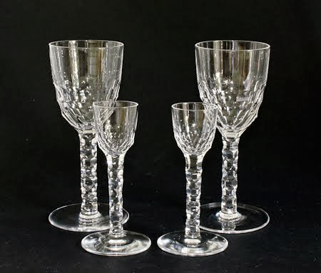 Beautifully Cut (Scarce) Claret & Liqueur Glasses Pat.2604 from the 1931 catalogue