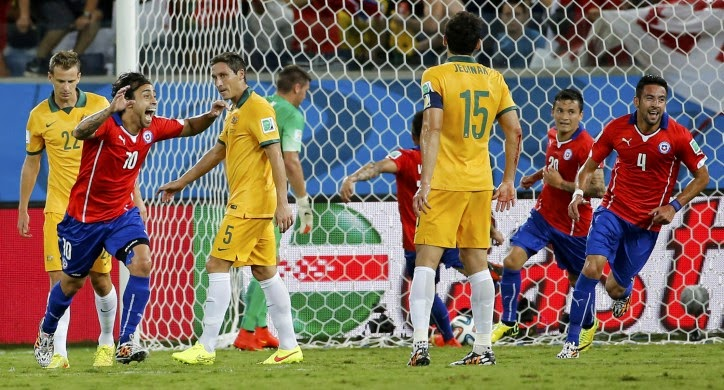 أهداف مبارة تشيلي وأستراليا 3-1 (كأس العالم)