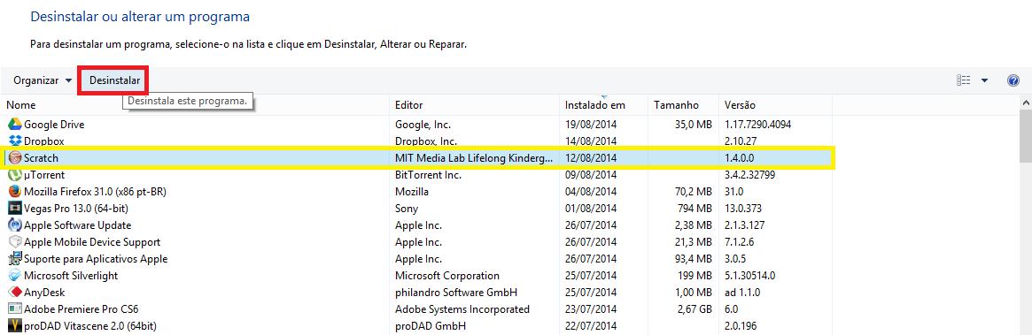 Painel de Controle do Windows - Desinstalar programas